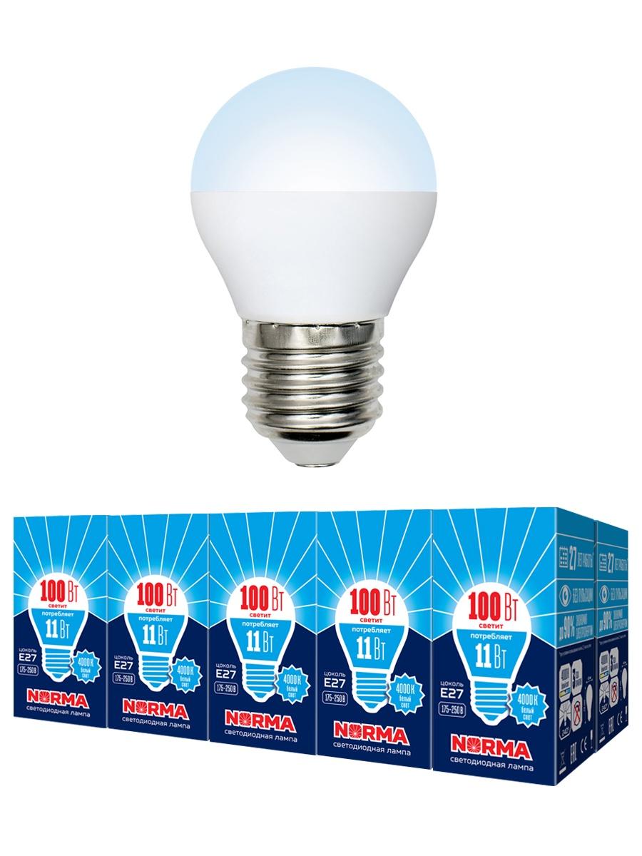 "Лампочка Volpe Комплект из 10 светодиодных ламп LED-G45-11W/NW/E27/FR/NR Форма ""шар"", матовая. Белый свет (4000K), Нейтральный свет 11 Вт, Светодиодная"