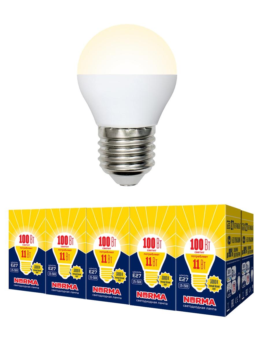 """Лампочка Volpe Комплект из 10 светодиодных ламп LED-G45-11W/WW/E27/FR/NR Форма """"шар"""", матовая. Теплый белый свет (3000K), Теплый свет 11 Вт, Светодиодная"""