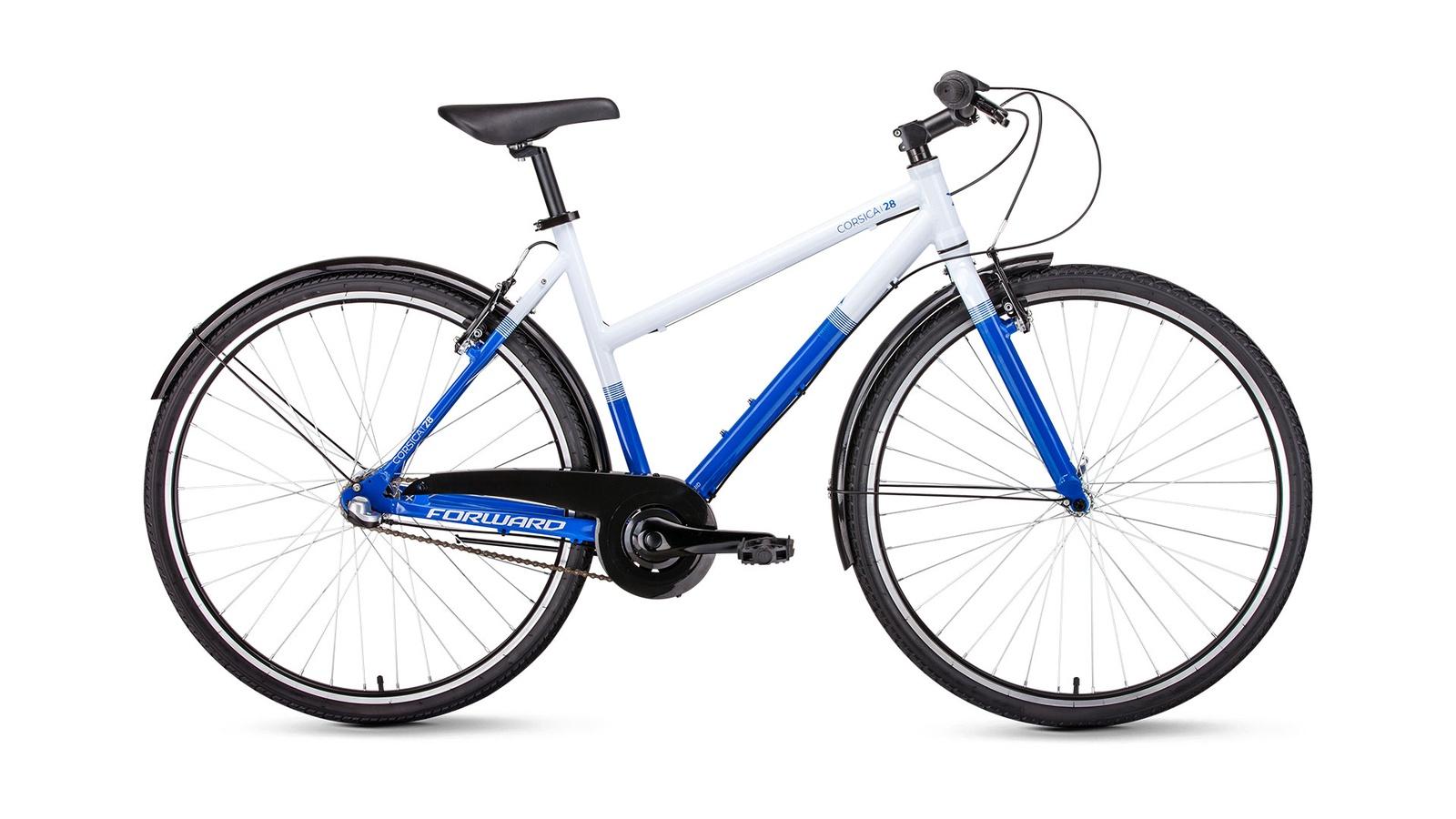 Велосипед Forward Corsica 28 2019, белый, синий велосипед forward rockford 28 голубой