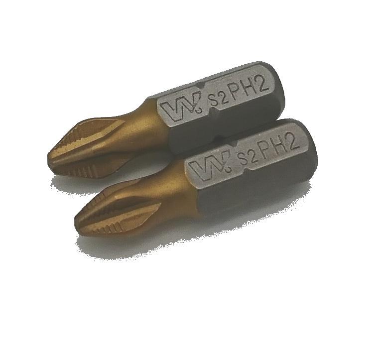 Бита Whirlpower 25мм РH2 RSC TiN золотой премиум, набор 2 шт. цена и фото