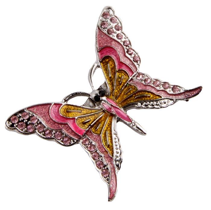 """Брошь бижутерная Антик Хобби """"Цветная бабочка"""", Бижутерный сплав, Кристаллы, Эмаль, розовый, серебристый, желтый, бежевый"""