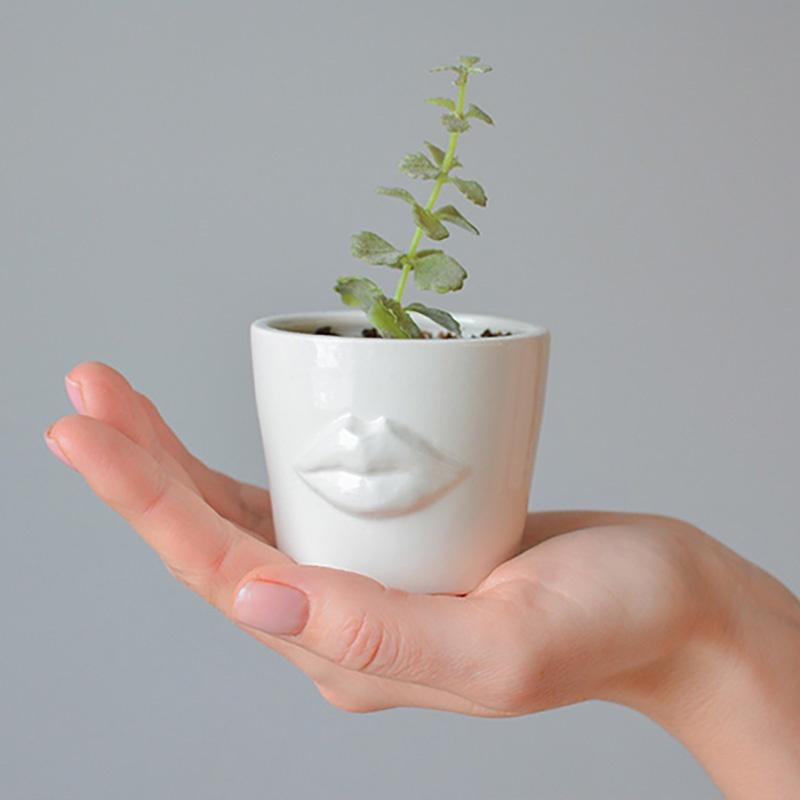 Кашпо FLORS Мини кашпо Губы, белый green garden кашпо teak s