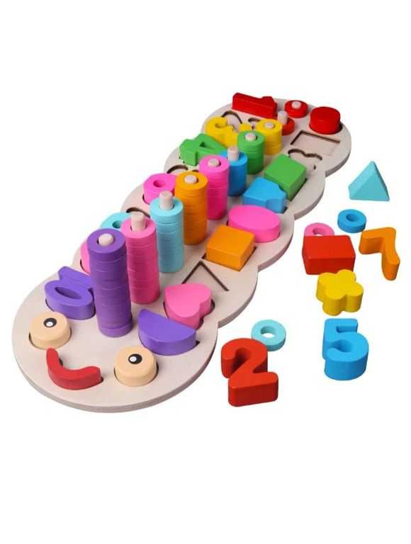 """Деревянная """"Математическая гусеница"""", большая, игровое пособие для малышей, сортер пазл деревянный цвета-фигуры-цифры"""