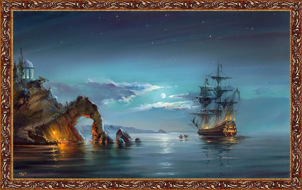 Картина Русская Коллекция Лунная ночь 100х60 см. Арт. РР1 картина ночь