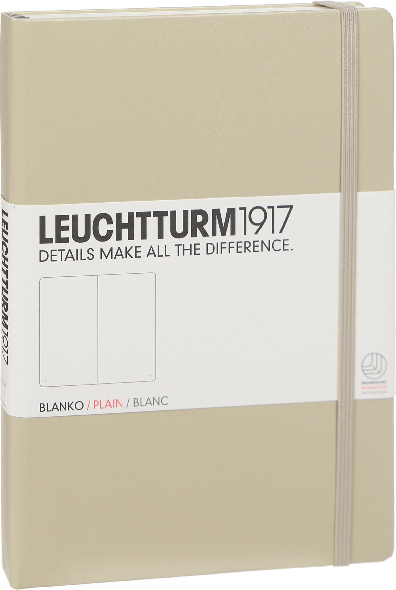 Записная книжка Leuchtturm1917, 354595, бежевый, A5 (148 x 210 мм), без разметки, 126 листов
