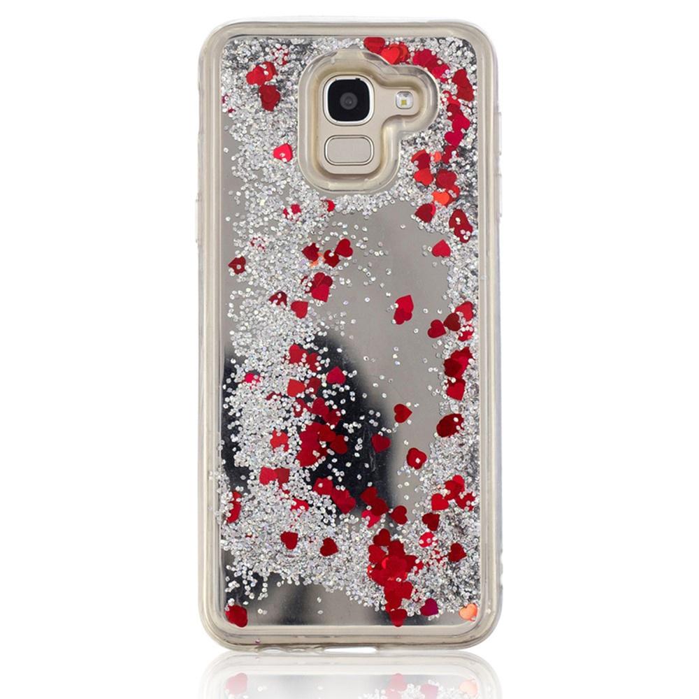 Чехол для сотового телефона Мобильная мода Samsung J6 Накладка силиконовая с переливающейся жидкостью, серебристый