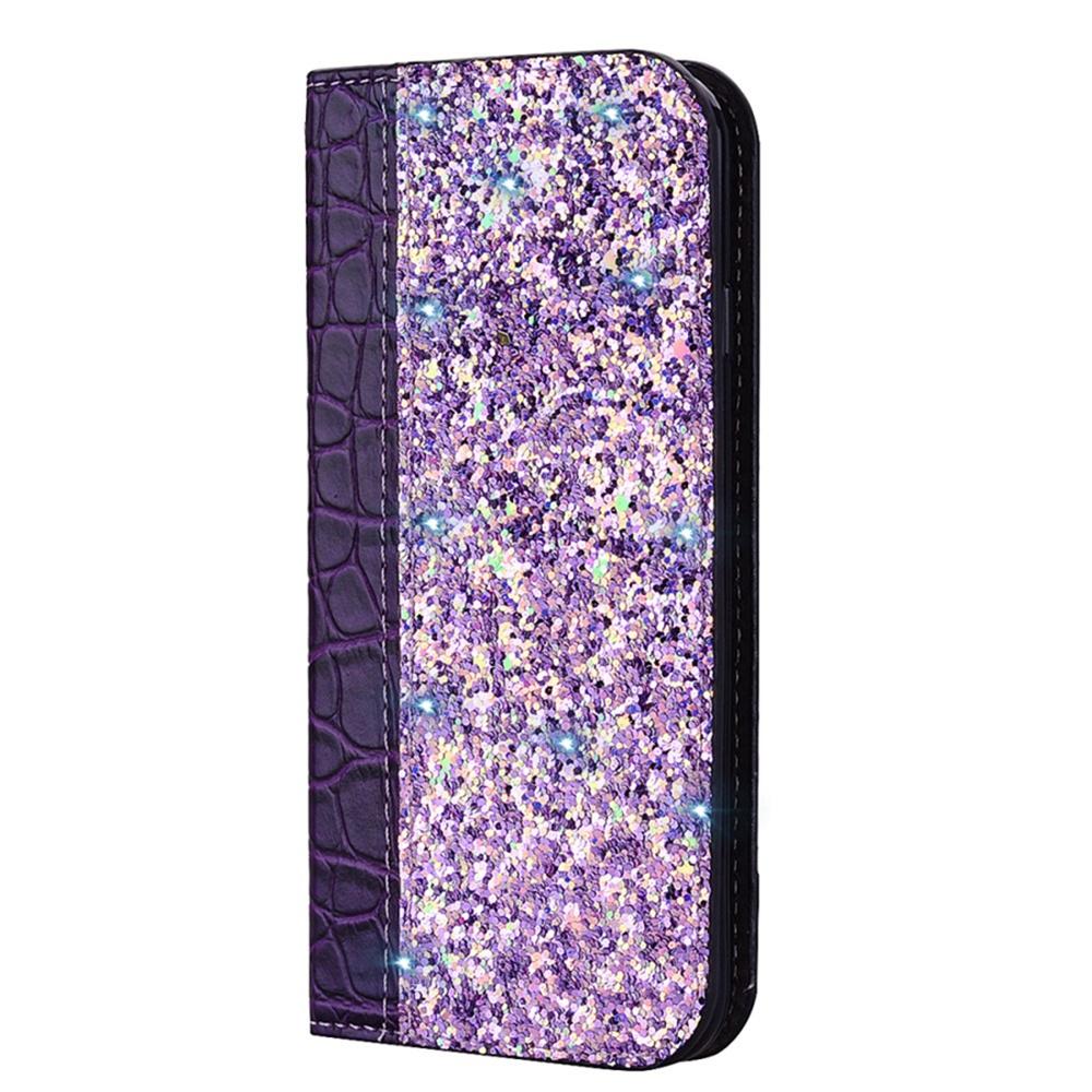 Чехол для сотового телефона Мобильная мода Samsung J6 Plus Чехол-книжка с блестками и структурой крокодильей кожи, фиолетовый