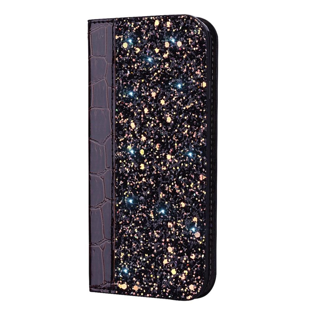 Чехол для сотового телефона Мобильная мода Samsung J6 Plus Чехол-книжка с блестками и структурой крокодильей кожи, черный