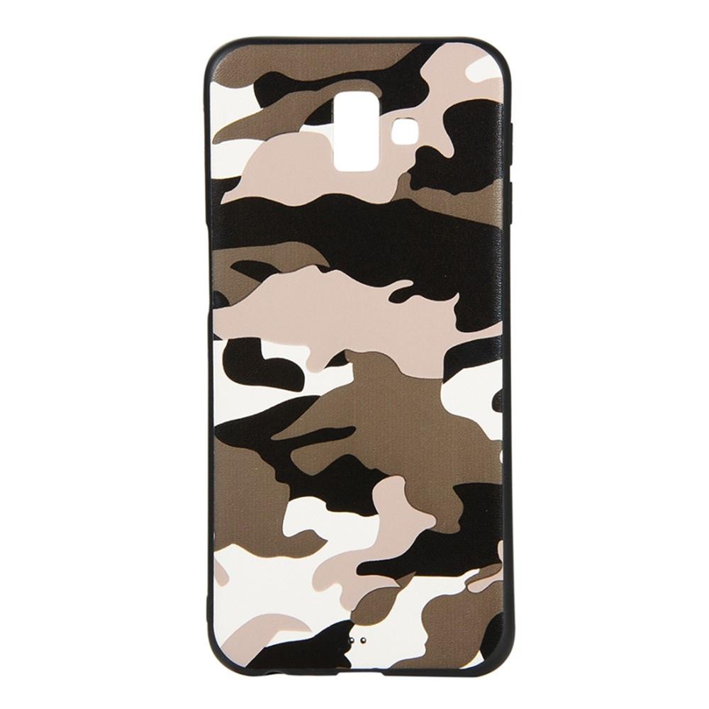 Чехол для сотового телефона Мобильная мода Samsung J6 Plus Накладка силиконовая с камуфляжным узором, белый