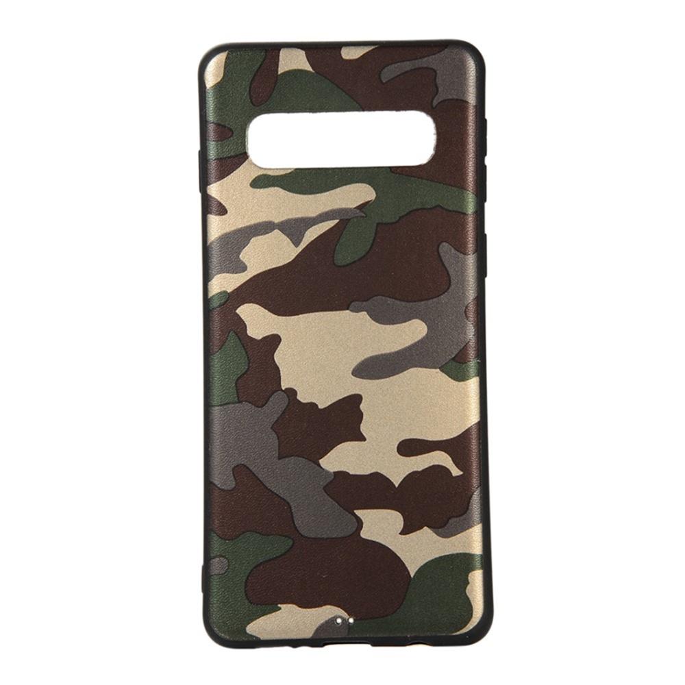 Чехол для сотового телефона Мобильная мода Samsung S10 Накладка силиконовая с камуфляжным узором, зеленый