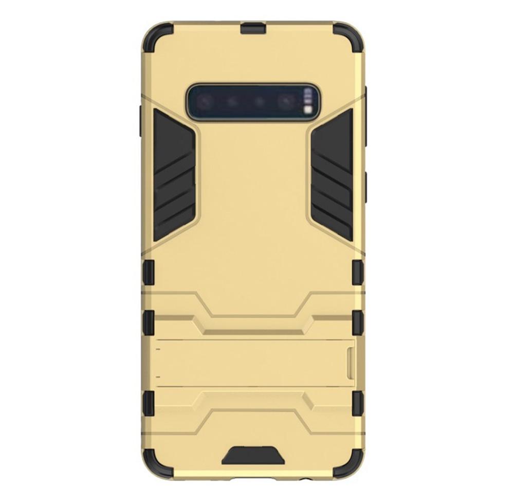 Чехол для сотового телефона Мобильная мода Samsung S10 Накладка противоударная с подставкой трансформер, золотой