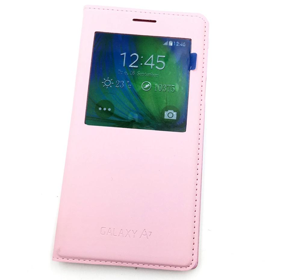 Чехол для сотового телефона Мобильная мода Samsung A7 2015 Чехол-книжка из кожзаменителя с интерактивным окном, розовый