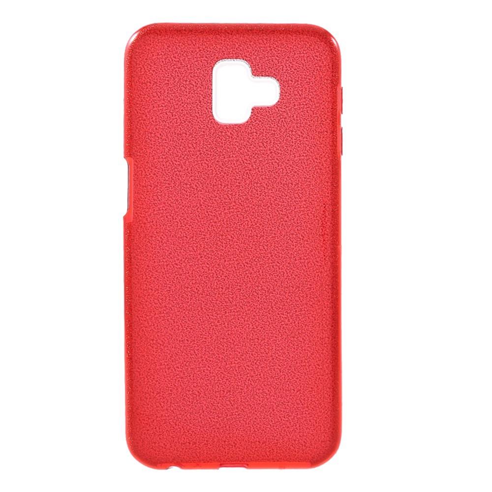 Чехол для сотового телефона Мобильная мода Samsung J6 Plus Накладка силиконовая с блестками, красный