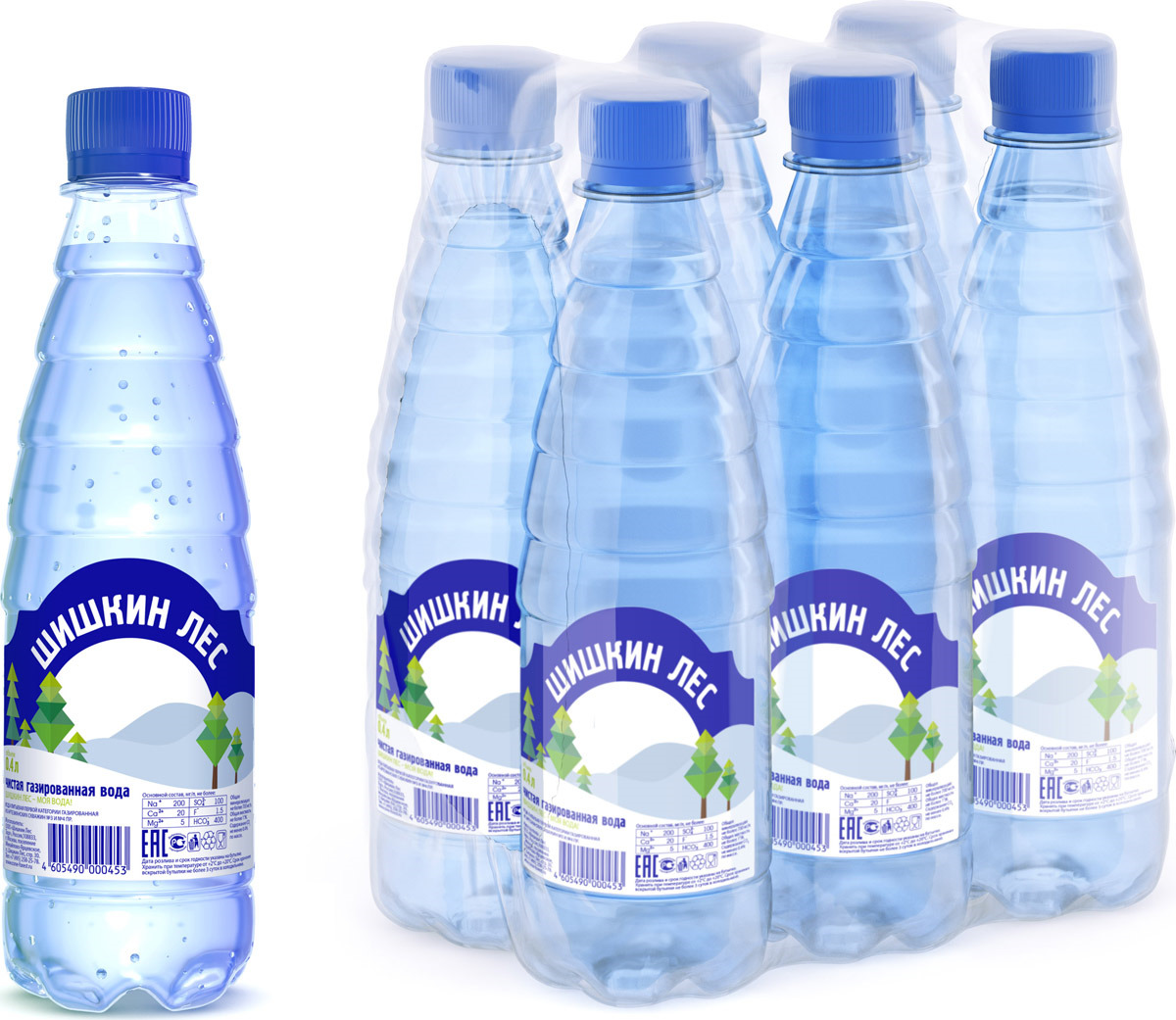 Шишкин лес вода питьевая газированная, 6 шт по 0,4 л