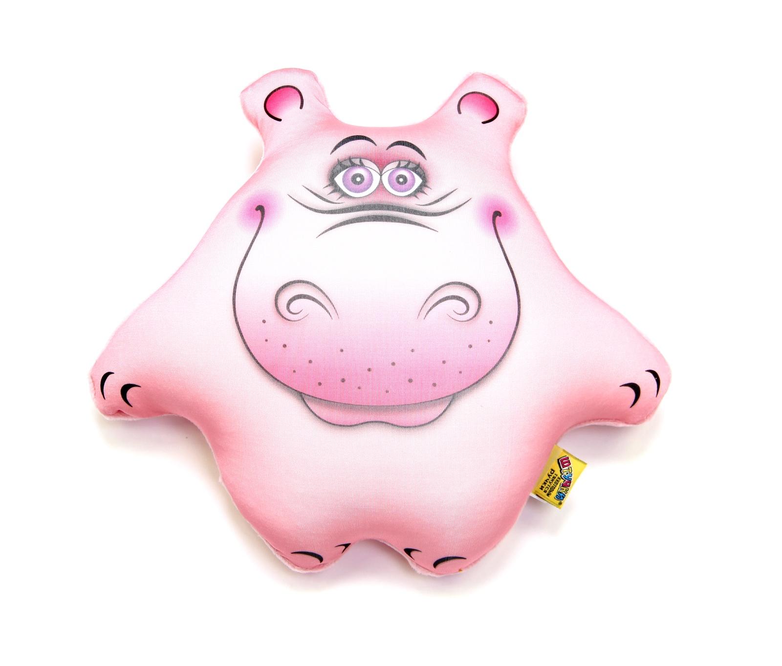 Штучки, к которым тянутся ручки Подушка-игрушка антистрессовая Бегемот Боня цвет розовый