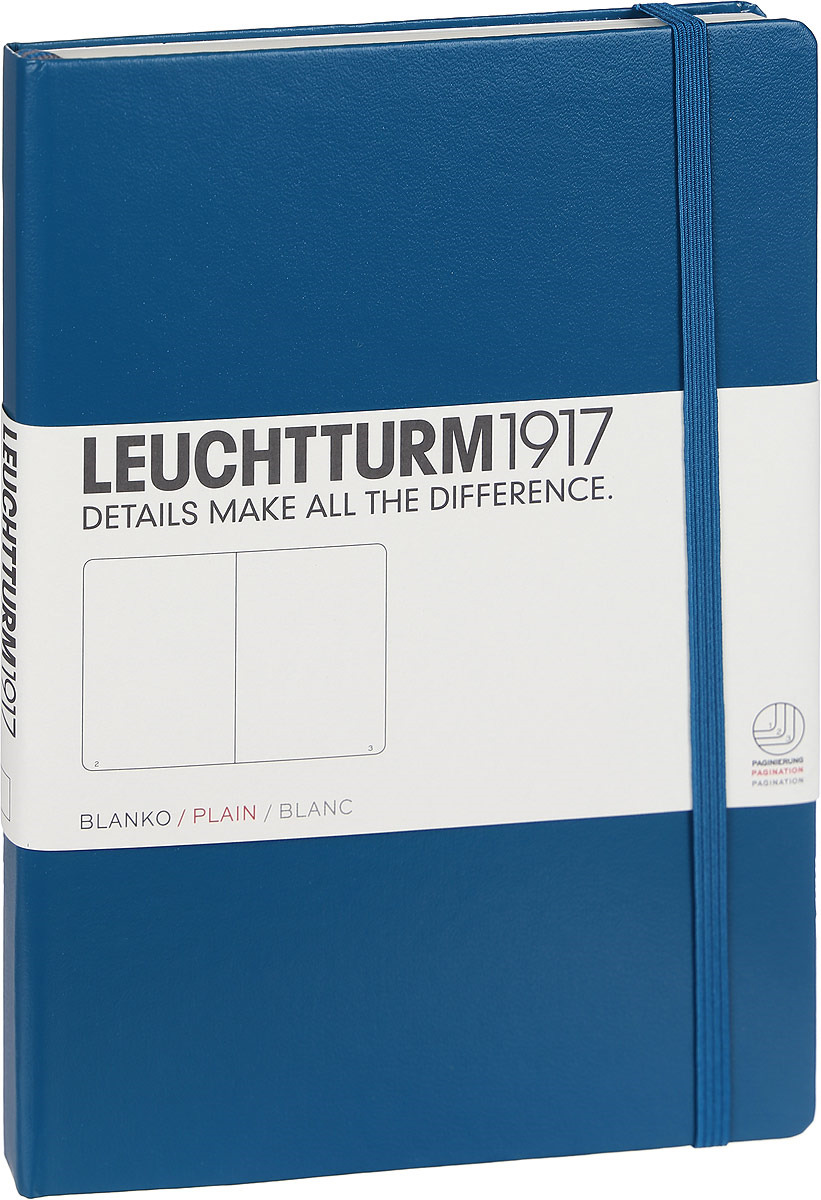 Записная книжка Leuchtturm1917, 359698, синий, A5 (148 x 210 мм), без разметки, 126 листов