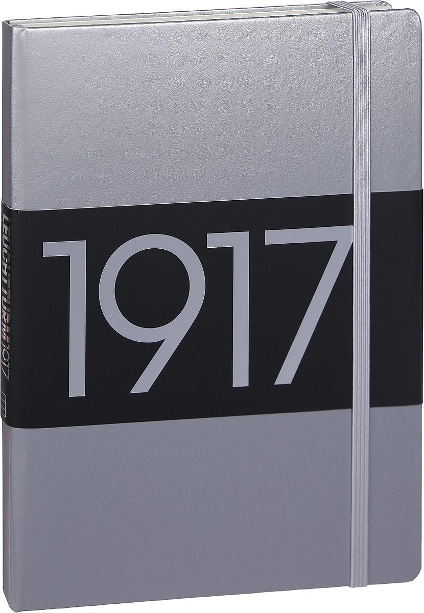 Записная книжка Leuchtturm1917 Metallic Edition, 355519, серебристый, A5 (148 x 210 мм), в линейку, 125 листов