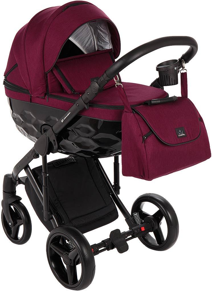 Коляска Adamex Chantal 3 в 1, C207, бордовый, черный коляска модульная vikalex borbona 3 в 1 leather white vi79901