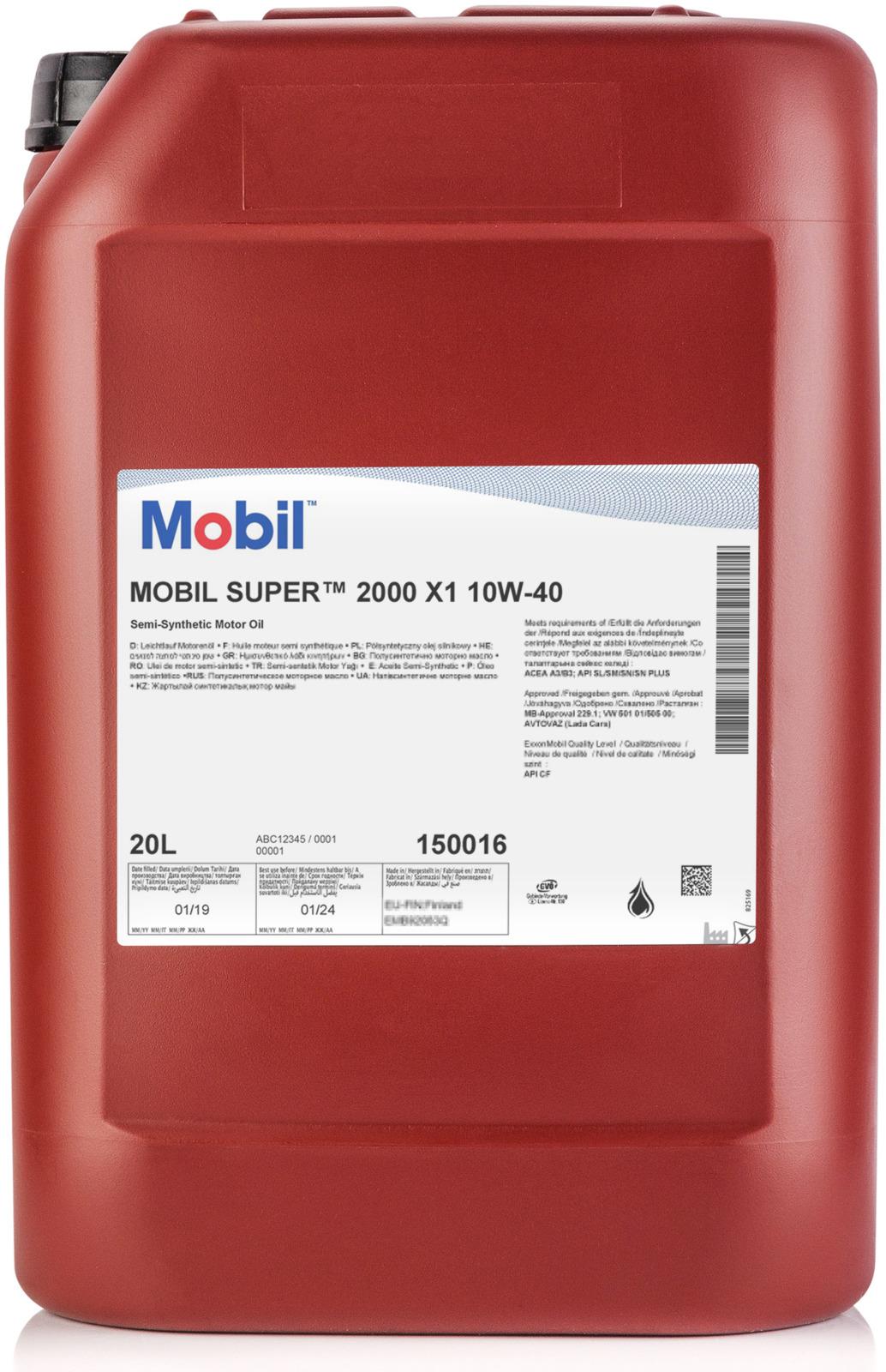 Моторное масло Mobil Super 2000 x1, 150016, полусинтетическое, 10W-40, 20 л масло моторное mobil super 2000x1 10w 40 1л