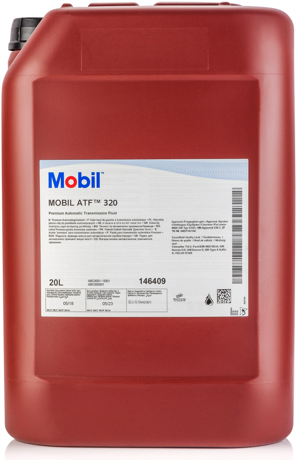 Трансмиссионное масло Mobil ATF 320, 146409, минеральное, 20 л