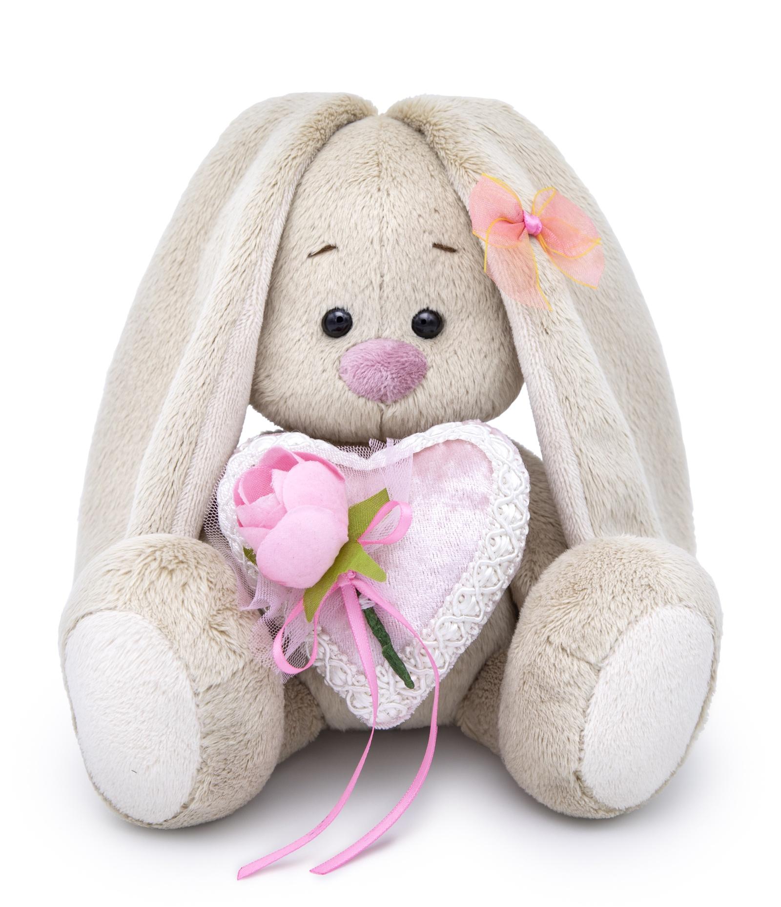 Мягкая игрушка Басик и Ко Зайка Ми малыш с сердцем из бархата, 15 см бежевый