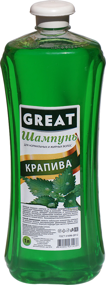 Фитошампунь Great Крапива, 1 л Great