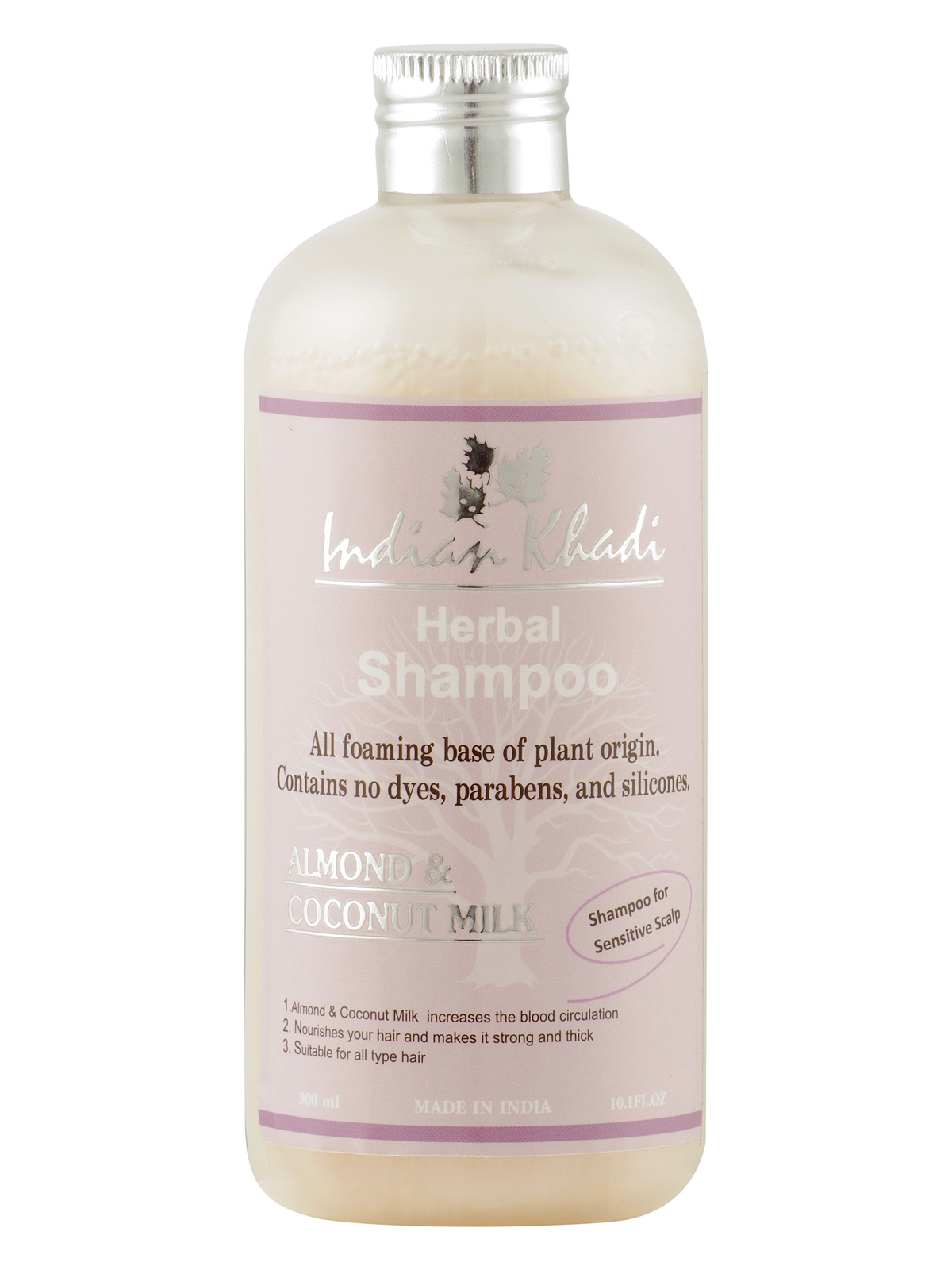 Шампунь для волос Indian Khadi Питательный, с кокосовым молоком и миндалем, 300 мл