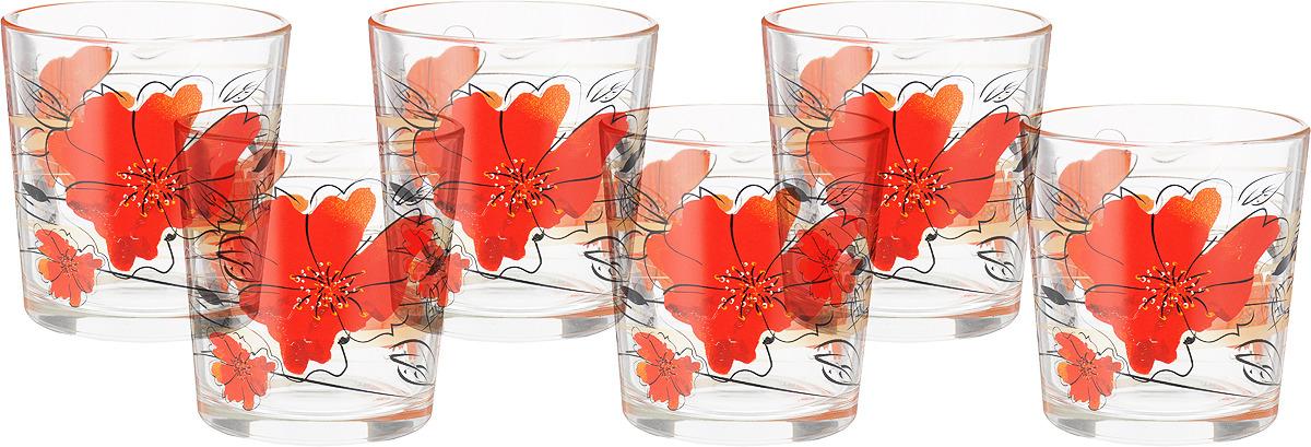 Фото - Набор стаканов ОСЗ Ода Алые цветы, 250 мл, 6 шт [супермаркет] jingdong геб scybe фил приблизительно круглая чашка установлена в вертикальном положении стеклянной чашки 290мла 6 z