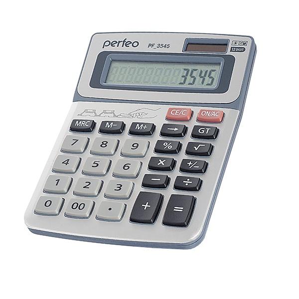 Настольный калькулятор Perfeo PF_3545, серебристый