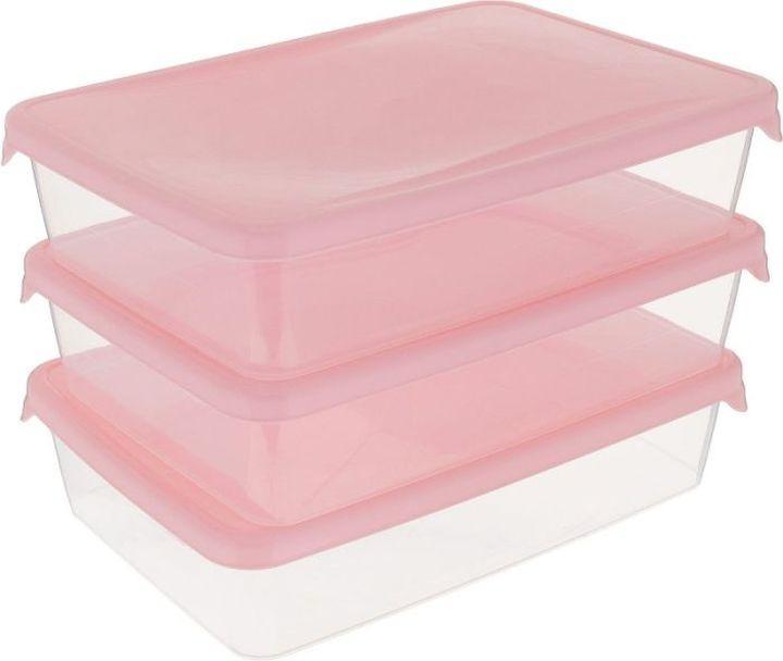 Комплект емкостей для продуктов Giaretti Браво, цвет: прозрачный, малиновый, 900 мл, 3 шт емкость для продуктов giaretti браво цвет белый прозрачный 900 мл gr1068