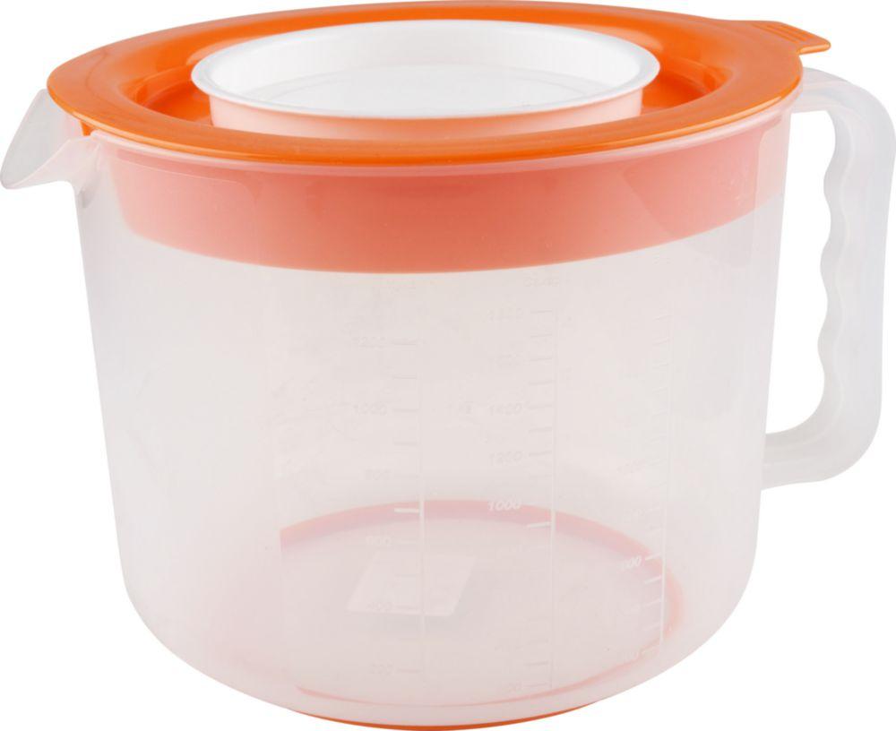 Емкость мерная Полимербыт Кружка для миксера, 2 л серый, оранжевый аптечка полимербыт 6 5 л с вкладышем
