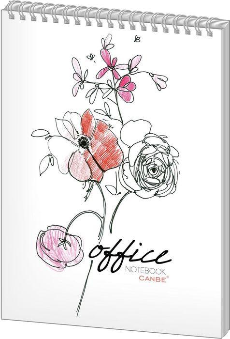 Блокнот Canbe Office Flowers, в клетку, формат A6, 40 листов, белый ай вэй avivi листов один кусок хлопка саржевого печатных листов больших 40 кровать 1 5 м 1 8 м 230 250 чой суда
