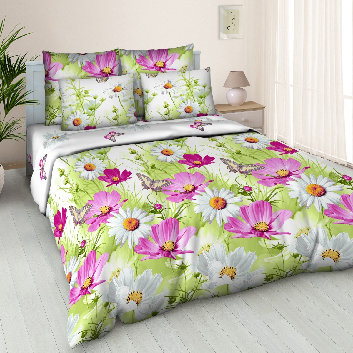 Комплект постельного белья BUTTERFLY поплин (ПК1) рис.4563/1, 1,5-спальный