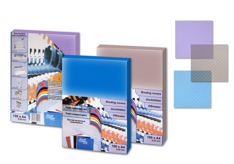 Обложки пластиковые, формат А4, прозрачные, тонированные синие, 100шт./уп., толщина 200мкм.