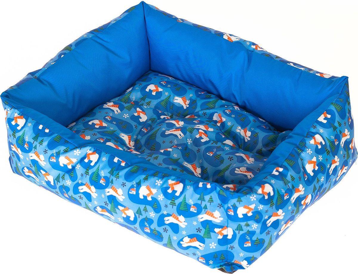 Лежак для собак Happy Puppy Умка, SHP-180069-3, голубой, размер-L, 60 х 50 х 12 см