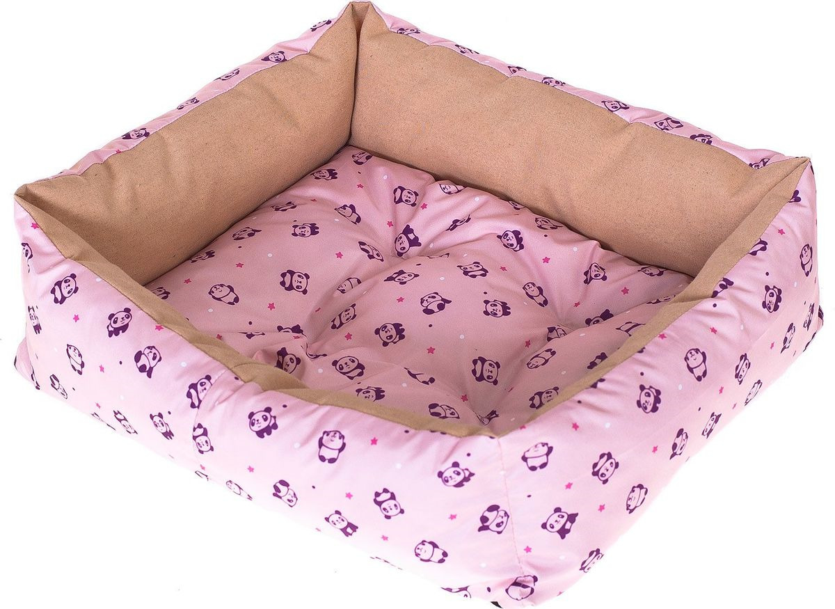 Лежак для собак Happy Puppy Панда, SHP-180068-3, розовый, размер-L, 60 х 50 х 12 см