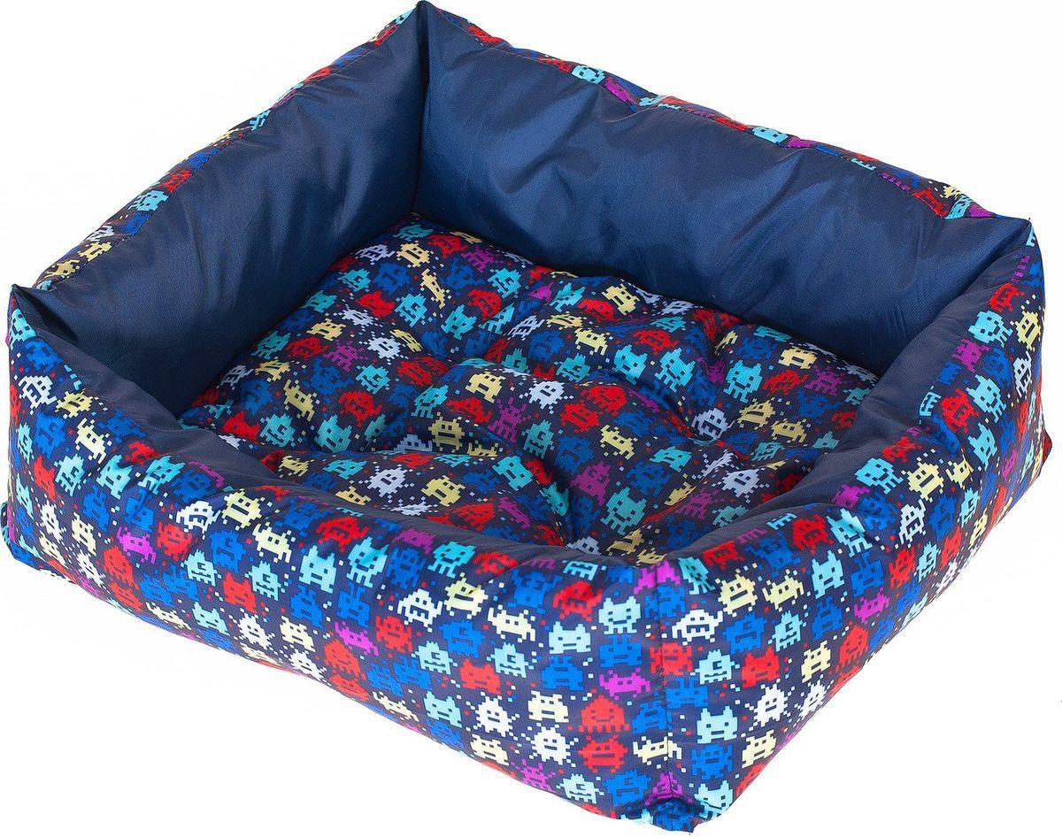 купить Лежак для собак Happy Puppy Пиксель, SHP-180073-2, синий, размер-M, 50 х 40 х 12 см по цене 943 рублей