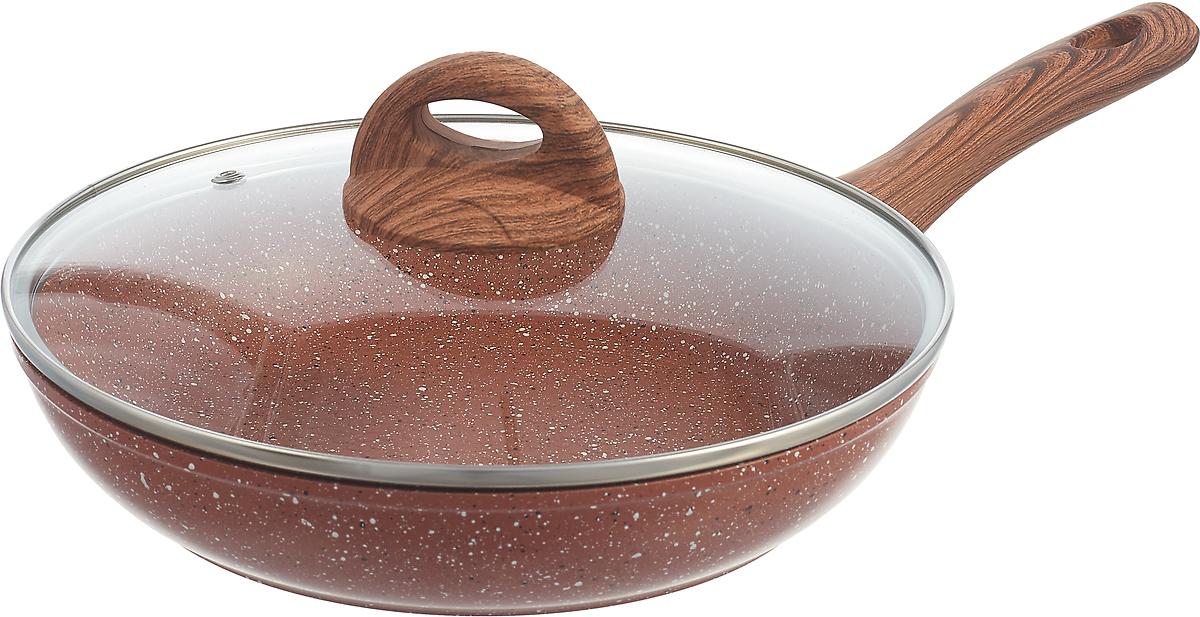 Сковорода Vissner, VS-7501-24, с мраморным покрытием, коричневый, зеленый, диаметр 24 см сковорода сотейник vissner vs 7451 22 см