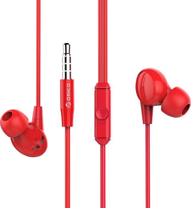 Наушники Orico с микрофоном, SOUNDPLUS-RP1-RD, красный cтяжка липучка для кабеля orico cbt 1s rd 1 метр 1 5 см красный