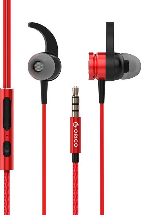 Наушники Orico с микрофоном и регулятором звука, SOUNDPLUS-RS1-RD, красный cтяжка липучка для кабеля orico cbt 1s rd 1 метр 1 5 см красный