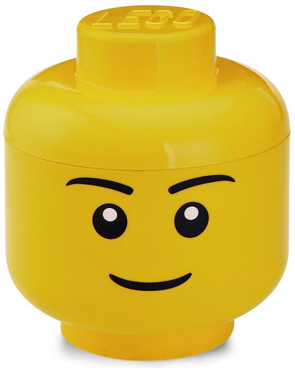Ящик для игрушек LEGO Storage Head Small Лицо мальчика, 40311724, желтый