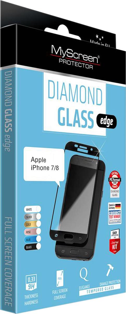Защитное стекло MyScreen Diamond Glass Edge для iPhone 7/8, черный защитное стекло 2 5d lamel myscreen lite glass edge для iphone 7 0 33 мм md2826tg