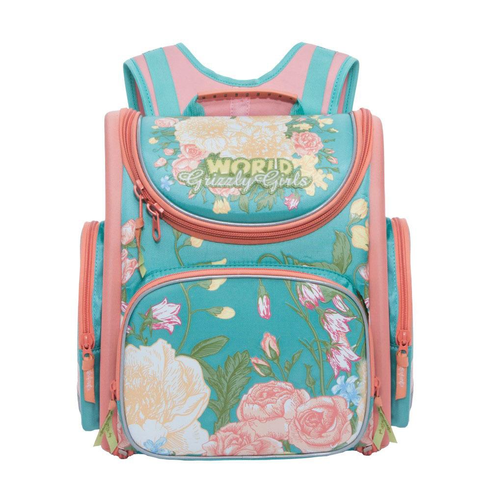 цена Grizzly Рюкзак школьный с мешком цвет голубой онлайн в 2017 году