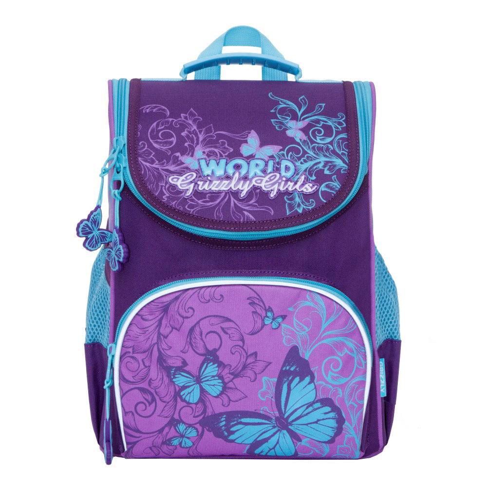 все цены на Grizzly Рюкзак школьный с мешком цвет фиолетовый RA-873-2/1 онлайн