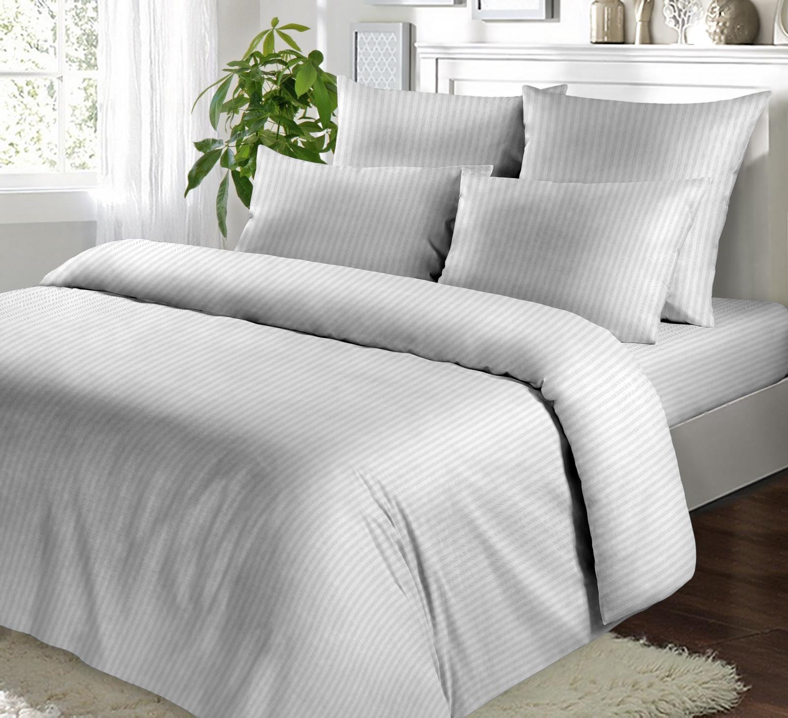 Комплект постельного белья BUTTERFLY Сатин гладкокрашенный (СК4) рис.Белая полоса 1*1, 2-спальный с европростыней