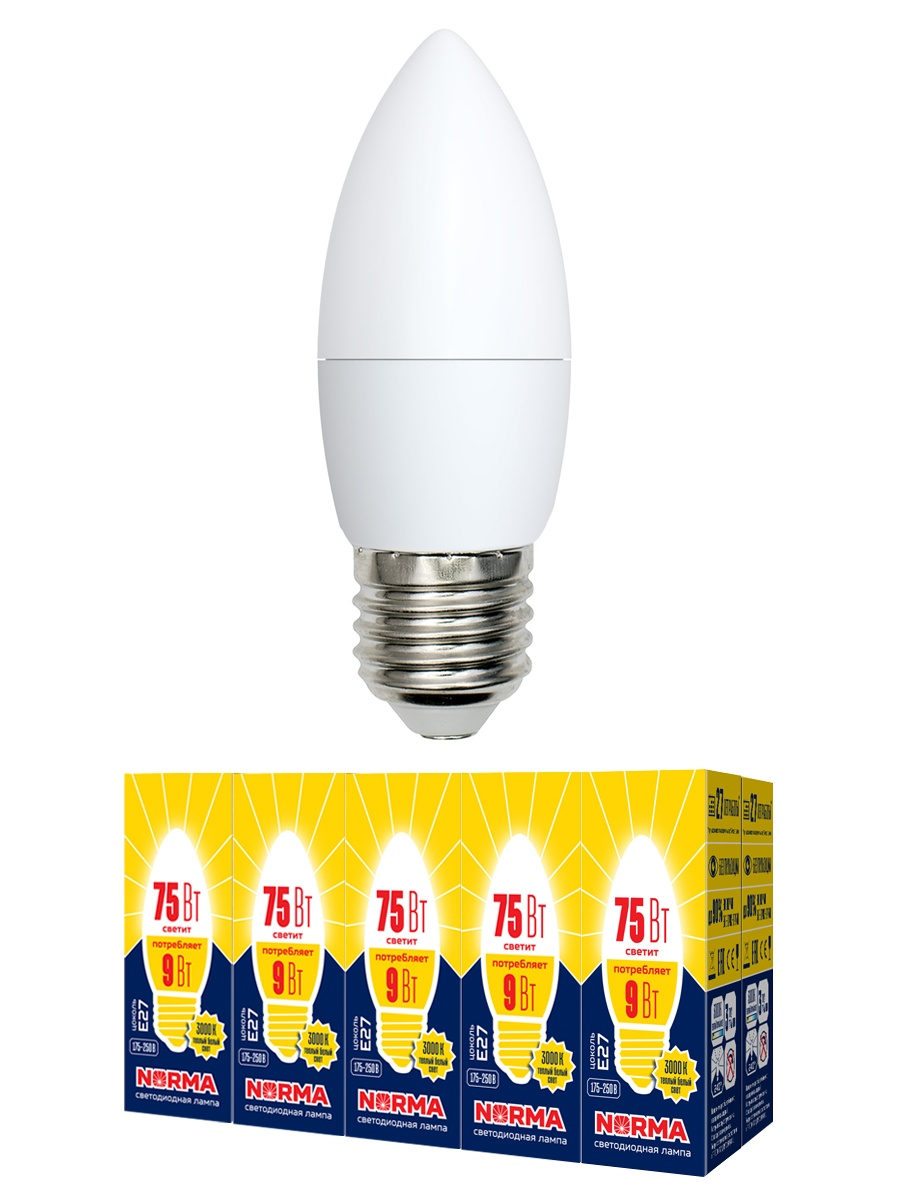 купить Лампочка Volpe, Volpe Комплект из 10 светодиодных ламп LED-C37-9W/WW/E27/FR/NR Форма