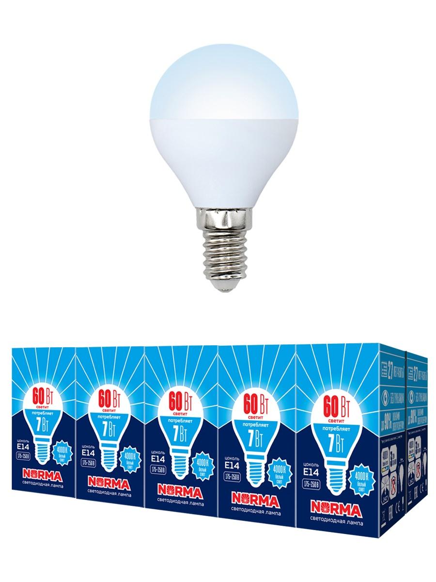 "Лампочка Volpe Комплект из 10 светодиодных ламп LED-G45-7W/NW/E14/FR/NR Форма ""шар"", матовая. Белый свет (4000K), Нейтральный свет 7 Вт, Светодиодная"
