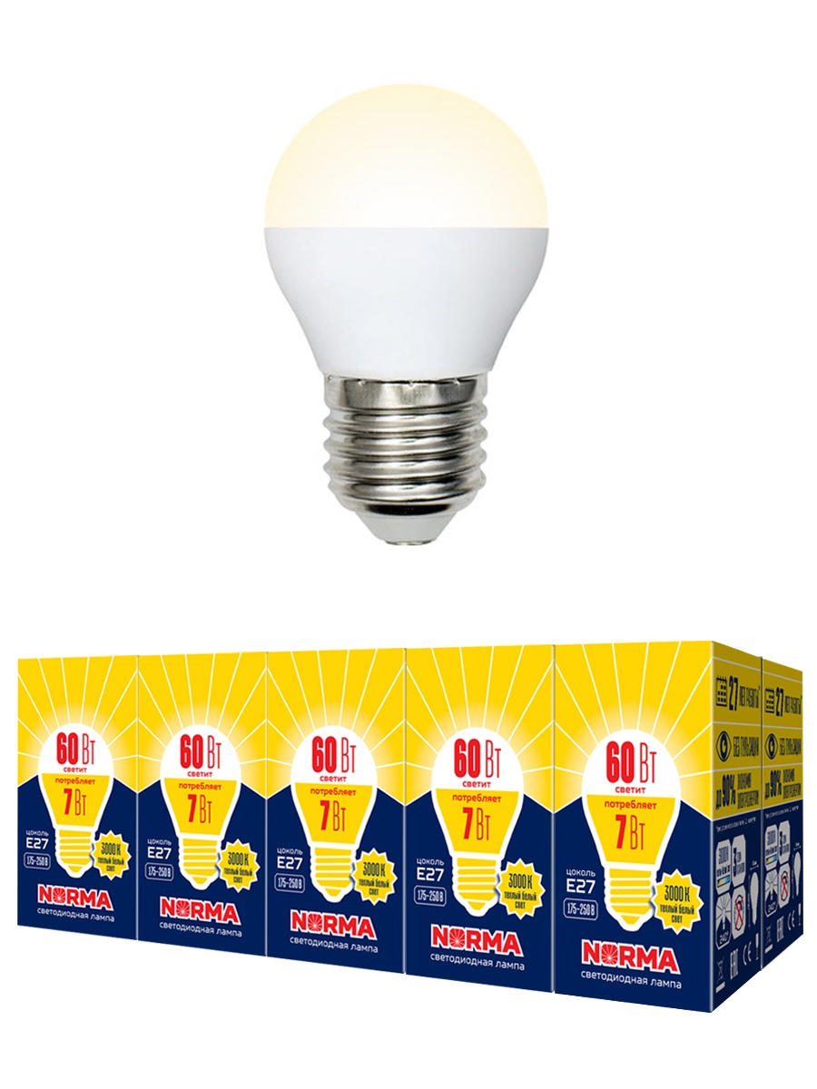 """Лампочка Volpe Комплект из 10 светодиодных ламп LED-G45-7W/WW/E27/FR/NR Форма """"шар"""", матовая. Теплый белый свет (3000K), Теплый свет 7 Вт, Светодиодная"""