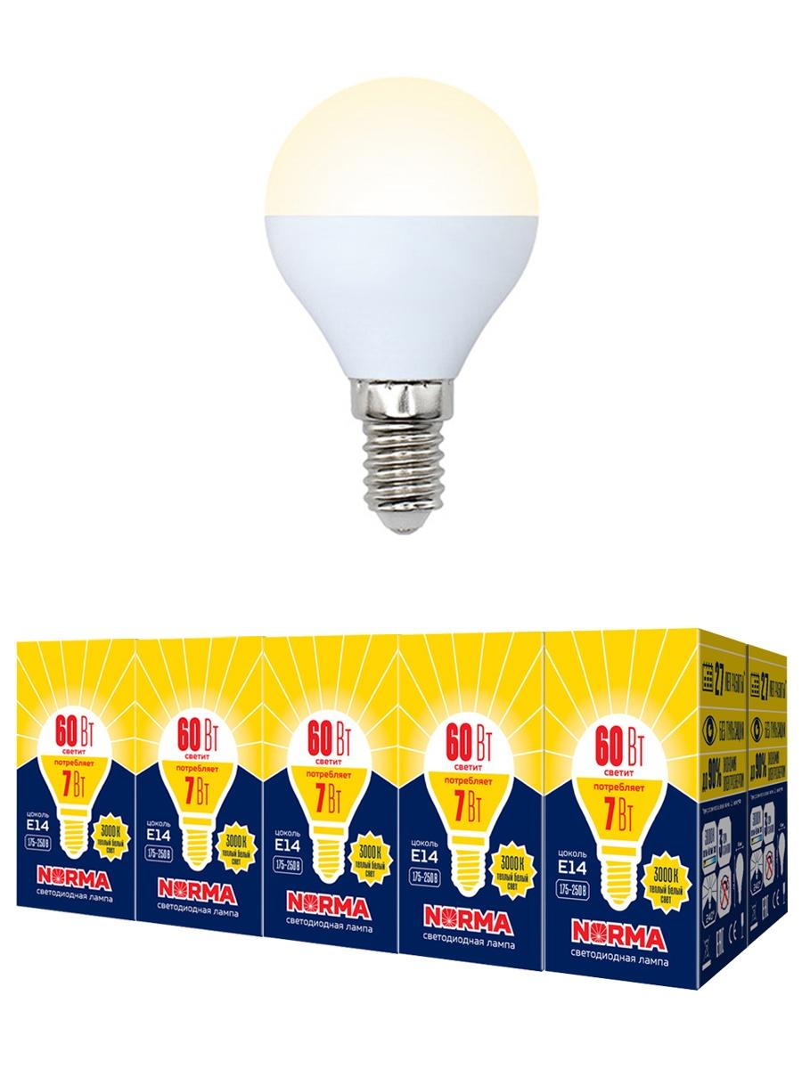 """Лампочка Volpe Комплект из 10 светодиодных ламп LED-G45-7W/WW/E14/FR/NR Форма """"шар"""", матовая. Теплый белый свет (3000K), Теплый свет 7 Вт, Светодиодная"""