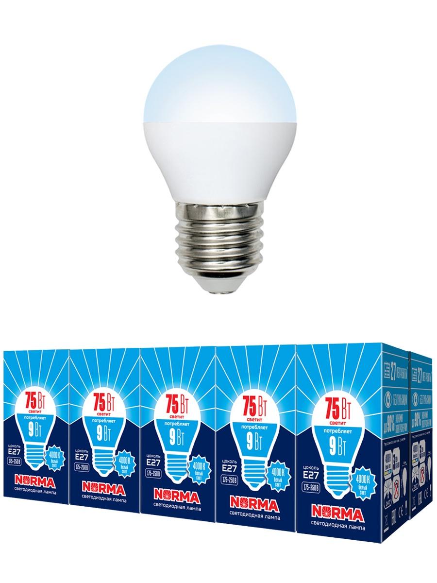 "Лампочка Volpe Комплект из 10 светодиодных ламп LED-G45-9W/NW/E27/FR/NR Форма ""шар"", матовая. Белый свет (4000K), Нейтральный свет 9 Вт, Светодиодная"